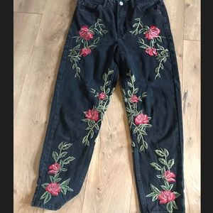 TOPSHOP embroidered rose jeans